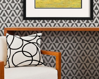 Large Geometric Triangle Allover Wall Stencil for a Wallpaper Look