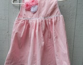 Pink and White Checked Pinafore - OOAK Girl's Jumper with Shabby Chic Flowers - Ready to Ship -
