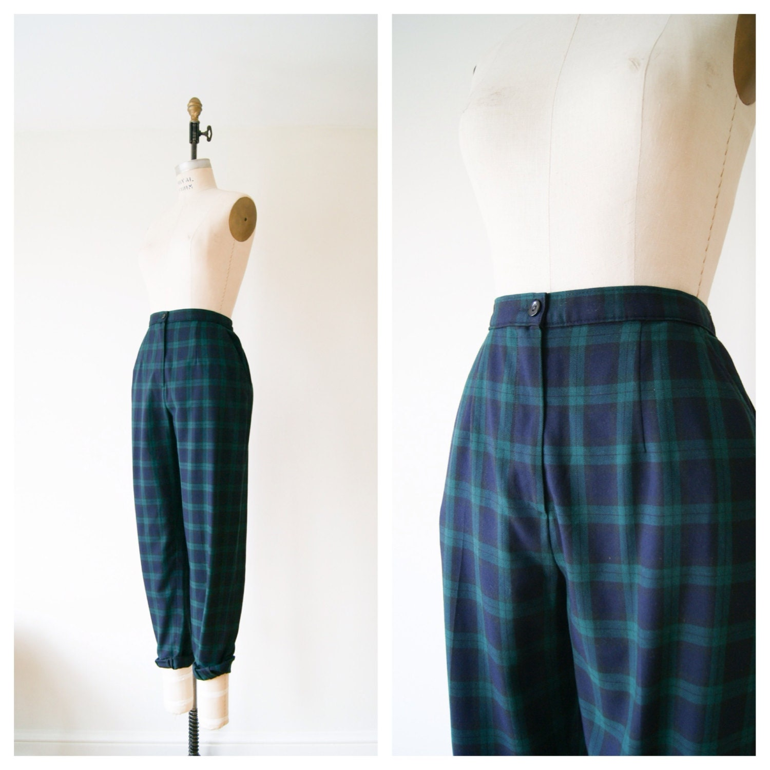 plaid pants vintage 80s green and navy blue tartan plaid. Black Bedroom Furniture Sets. Home Design Ideas