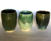 Three Green Cups, porcelain, ceramic, handmade, celadon, wine, juice, set, born of fire