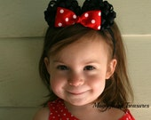 Minnie Mouse Ears on Clips and Optional Soft Headband