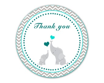 Elephant Thank You Labels Baby Shower Thank You Tag Teal Turquoise Silver  Grey Chevron Baby Shower