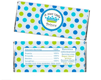 INSTANT DOWNLOAD Prince Baby Shower Party Candy Bar Wrapper - Blue Green Polka Dots Baby Boy Shower Favors Party Decoration
