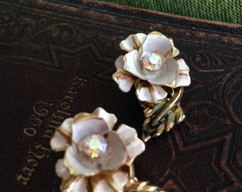 Vintage Coro flower clip on earrings