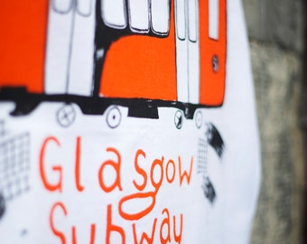 Glasgow-subway Tea Towel - Hand screenprinted Cotton teatowel of Glasgow Subway in Glasgow
