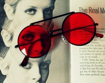 Vintage FLIP UP Sunglasses...uv lens. retro. sunglasses. rad. hipster. urban. rock n roll. party. mod. indie. red lens. lennon. deadstock