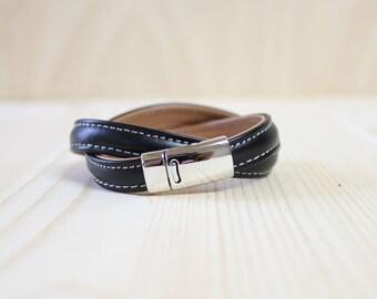 Stitched Double Leather Wrap Bracelet(Black)