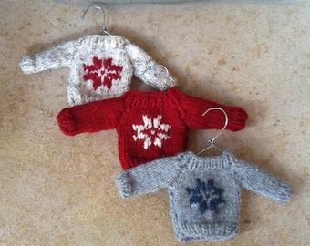 Mini Christmas Sweater Ornament Hand Knit
