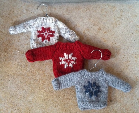 Knit Pattern Sweater Ornament : Mini Christmas Sweater Ornament Hand Knit
