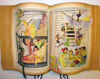 Peter Pan Altered book popup style 1931 vintage Peter Pan