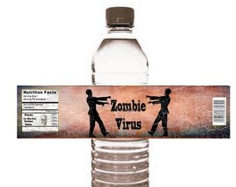 halloween Zombie Water Bottle Label DIY Halloween fun water bottle wrappers