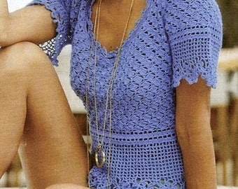 Crocheted Blue Blouse - Made to Order