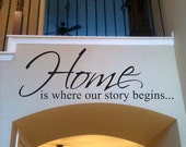 Home is where our story begins Wall Decal- Large Living room Hallway Bedroom Décor Vinyl Wall Art Decal Love Entry way decor children's room