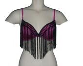 Hot pink Customized Bra, performance top, fringed top, fringe bra