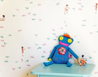 Sarah Jane With The Birds WALLPAPER - Removable, Re-usable, FABRIC, Eco-Friendly, Non-Toxic.  No Mess. No Glue Pop & Lolli