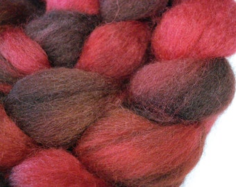 Hand Dyed SW BFL/Nylon Top 85/15 - 4 Ounces - Red and Brown with Purple Highlights