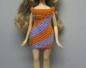 Bratz Doll Orange & Lavender Striped Dress.