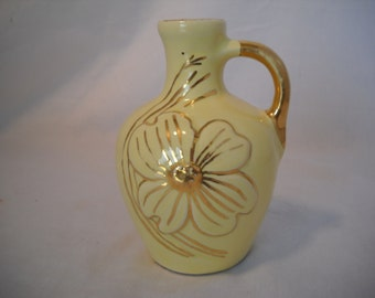 "Yellow Bud Vase With Gold Trim And Inlay 5 1/4"" Tall"
