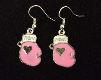 Breast Cancer Pink Boxing Gloves Earrings