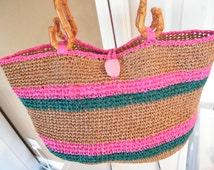 Raffia bag, Handbag made from Raffia Yarn. handmade crochet Wheat , pink, teal colors, ready to ship now.