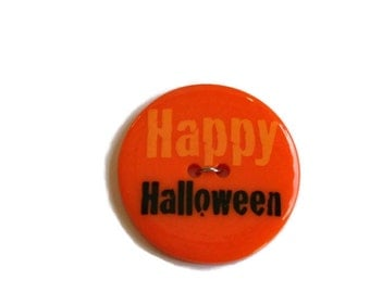 Round Orange Happy Halloween Button