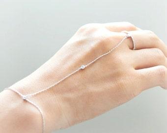Crystal bezel Ring Bracelet/ Choose your color / gold and silver