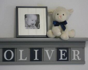 Navy  Gray Nursery Decor   Baby Boy Gift   Personalized Wall Decor   Childrens Wall Decor   Baby Boy   Toddler Boy   Floating Wall Shelf  