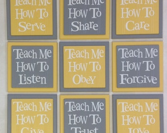 TEACH ME Signs: How To Love, Listen, Care, Trust, Obey, Share, Give, Forgive, Serve - Set of 9 - Grey - Nursery, Playroom - Wooden Wall Art