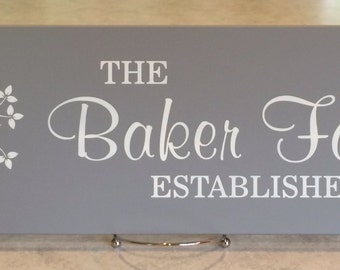 Personalized Family Name Sign Plaque Established Sign with Tree Painted Gray 7x22, Custom Wedding / Anniversary / Housewarming Gifts