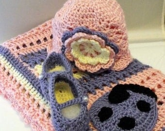 Baby Blanket with Hat and Booties Set Crochet