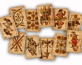 Tarot Digital Collage Sheet Download Antique Cards Old Shabby Chic Fortune Telling Reading DIY Decoupage Backgrounds 594