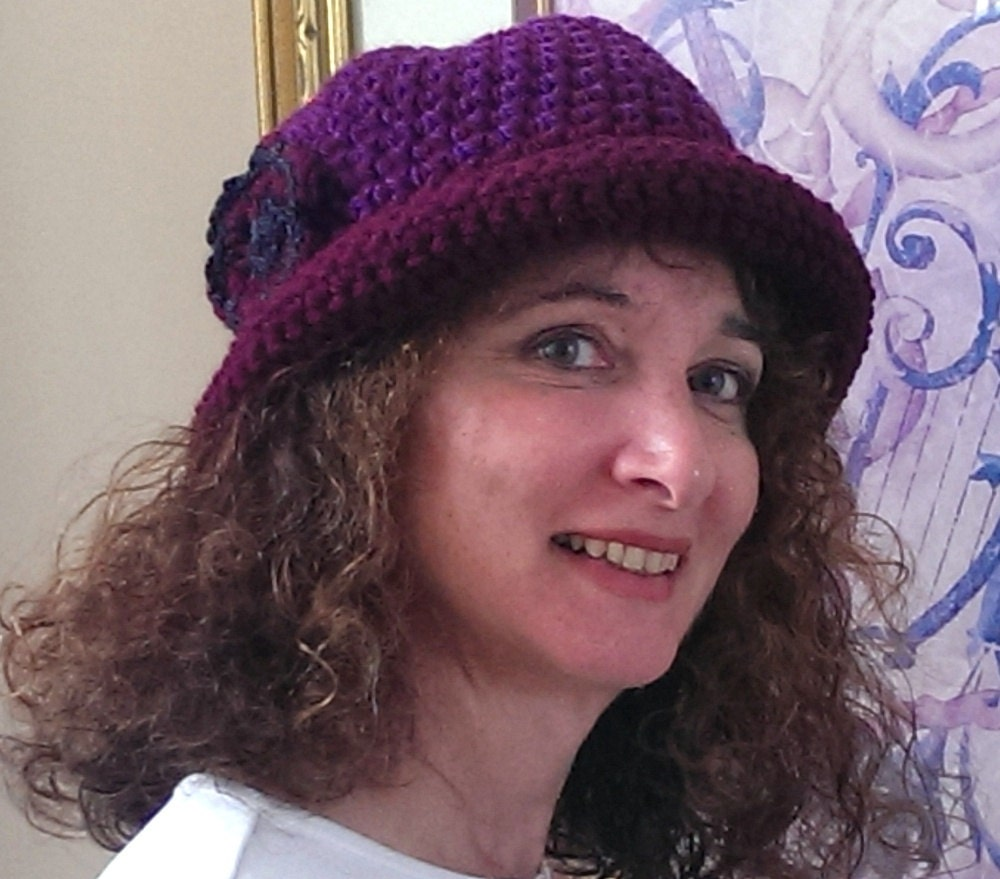 Crochet pattern tweed roller hat burgundy and purple hat zoom bankloansurffo Gallery