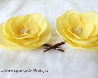 Yellow Bridal Flowers, Yellow Wedding Hair Accessory, Yellow Bobby Pin, Yellow Bridal HeadPiece, Yellow Fascinator
