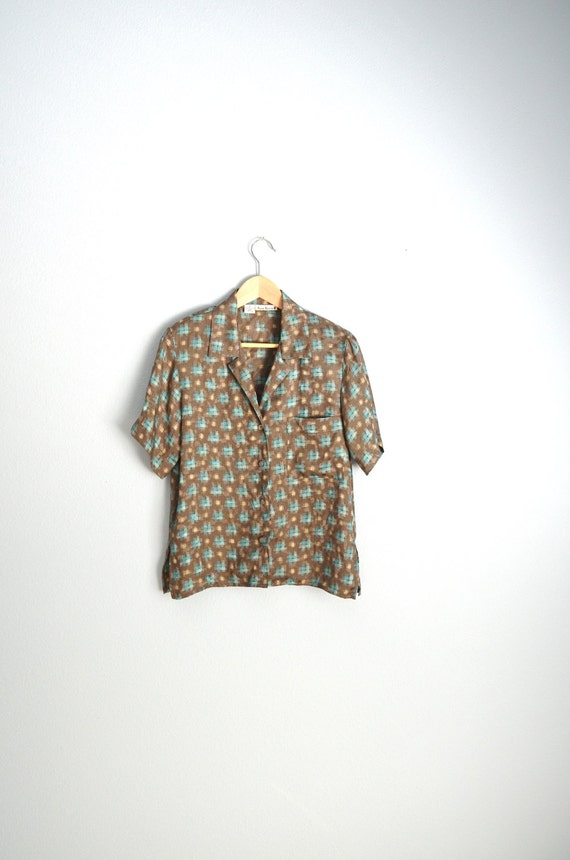 Vintage 80s Anne Klein II brown turquoise silk patterned blouse // womens small med// size 2/4/6