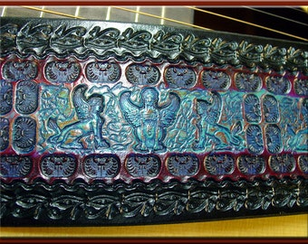 EGYPTIAN MAGIC  Design • A Beautifully Hand Tooled, Hand Crafted Leather Guitar Strap
