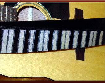 GRAND PIANO Design • A Beautifully Hand Tooled, Handcrafted Leather Guitar Strap