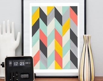 Abstract art, Geometric Art, Harlequin, Retro poster, Mid century modern, Colorful, Scandinavian print