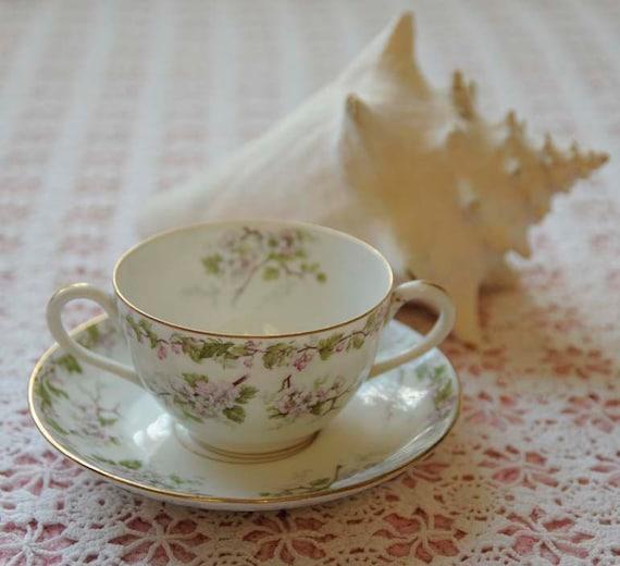 Antique LIMOGES FRANCE Cream Soup Bowl Bouillon Cup & Saucer Floral Apple Blossom 1892-1907