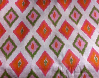 New ONE YARD Diamond Design Natural Orange Green Pink CARNIVAL Ikat Diamond Premier Print Cotton Duck Fabric One Yard 3 Yds Available