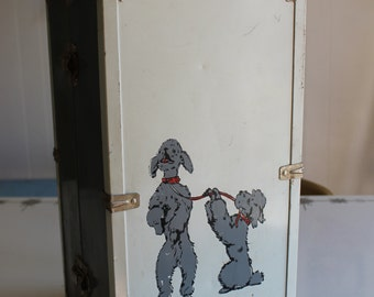 Vintage Two Toned Metal Childs Doll Case   Chest with  Dancing Poodles