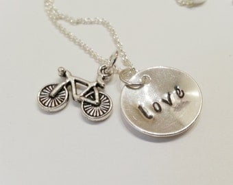 30% OFF - Bicycle Charm Love Hand Stamped Birthstone Necklace - LNBIKE02