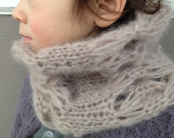Toddler Cowl - Hand Knit - Airy Mauve Mohair