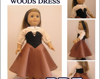 Sleeping Beauty/Briar Rose Woods Dress PDF Pattern for American Girl Doll - Instant Download
