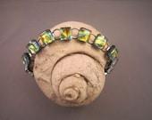 Orange and Green Dichroic Glass Bracelet