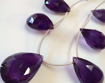 Amethyst Faceted Tear Drops-Graduated