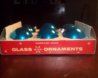 Vintage Box of 6 Royal Blue American Made Glass Coby Bulb Christmas Tree Ornaments