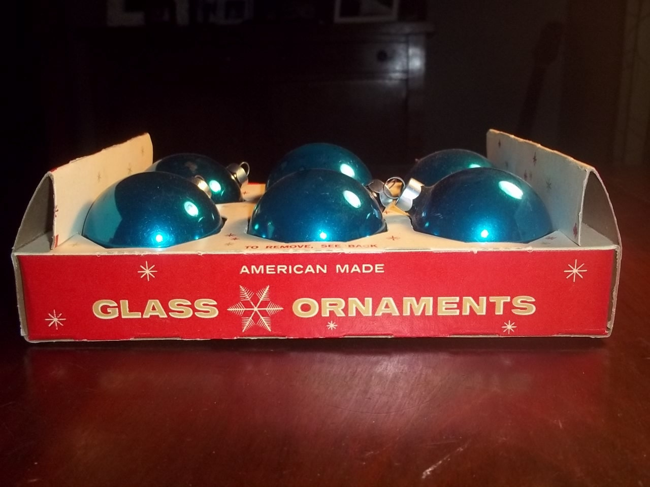 Coby Glass Christmas Tree Ornaments : Vintage box of royal blue american made glass coby bulb