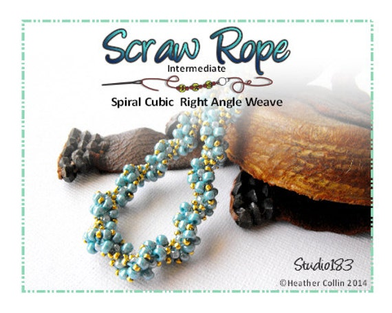 Beading Pattern, Instructions, Tutorial, Spiraling Cubic Right Angle Weave, SCRAW, Twisted Rope Instant Download SCRAW ROPE