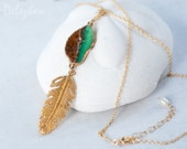 Raw Chrysoprase Necklace - Boho Jewelry - Bird Feather Charm Necklace - Chocolate Mint Necklace - Layering necklace