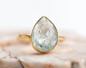 40 0FF - Aquamarine ring - March Birthstone Ring - Gemstone Ring - Stacking Ring - Gold Ring - Tear Drop Ring